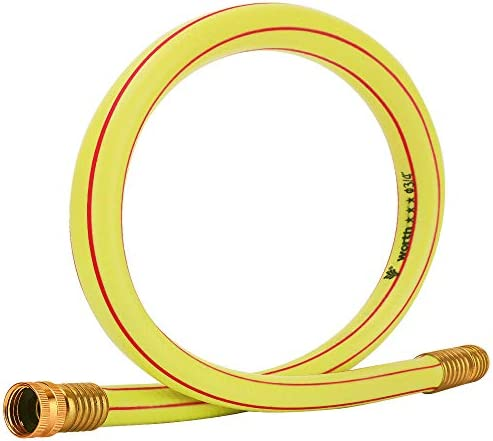 Solution4Patio Homes Garden Short Hose 3 4 in x 3 ft Yellow Lead Hose Solid Brass Fittings for product image