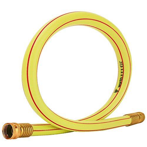 Solution4Patio Homes Garden Short Hose 3/4 in. x 3 ft. Yellow Lead-Hose Solid Brass Fittings for Water Softener, Dehumidifier