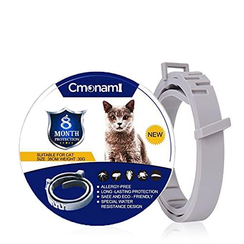 Cmonami Collares antipulgas para gatos - Collar Anti Pulgas y Garrapatas Hasta,8 meses de protección ajustable e impermeable Collar antipulgas - 38cm