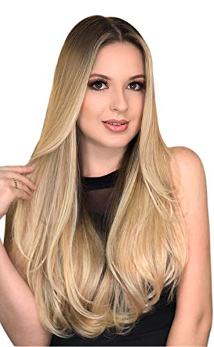 Dunkle Wurzeln Lange Ombre Blonde Perücke Glattes Haar - ChuYao lange Ombre Blonde Perücken für Frauen, Natürliche Haarfarbe Hitzebeständige Faser Haarersatz Perücke