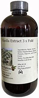 OliveNation Natural 3-Fold Vanilla Extract, Triple Strength Vanilla for Baking, Cooking, Ice Cream, Frosting, Non-GMO, Glu...