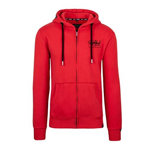 Spitzbub Herren Hoodie Pullover mit Kapuze Sweatjacke Zipper Kapuzenpullover mit Reißverschluss Arne in Rot