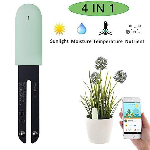 CRZJ Pflanzenmonitor, Intelligentes Bodenfeuchtesensormessgerät Bluetooth 4 in 1, Blumenpflegesensor, Bodentester