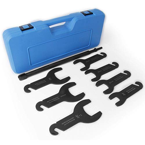 aremnry 8Pcs Pneumatic Fan Clutch Wrench Set Removal Tool Kit Auto Repair Spanner Kit Installs Fan Clutch Fits for Ford GM Jeep Chrysler
