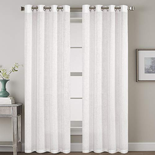 Pair Set Nickel Grommet Natural Linen Blended Window Treatment, Premium Soft Rich Light Reducing Curtain Panels for Living Room - 52x84-Inch-Off White