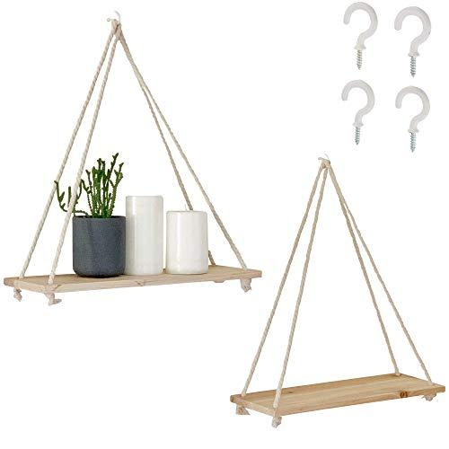hanging shelf with hooks Hanging Shelves for Wall [Set of 2 w/ Hooks] Wooden Shelf & Macrame Rope, Natural Light Reclaimed Wood, Swing Triangle Floating Shelf, Modern Boho Decor, Plant, Living Room, Bedroom, Bathroom, Window