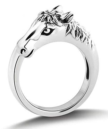 RXSHOUSH Anillo de cabeza de caballo para hombre, plata S925, anillo abierto para parejas, regalo de la suerte, anillo de moda