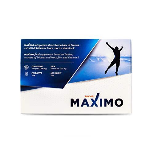 MAXIMO Integrador Sexual | Maca Taurina Zinc Tribulus y Vitamina E | Aumenta la erección libido resistencia | Combate la disfunción eréctil | 100% Natural SIN Gluten Lactosa
