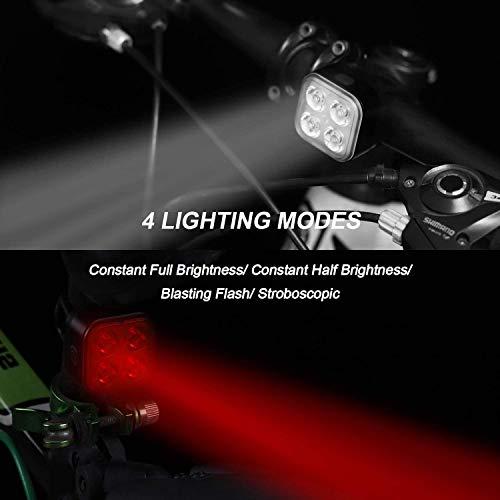 TESHUDI Bike Lights Set, Super Bright Bicycle Lights, IPX4 Waterproof Bike Light Front and Back, Fits All Bikes, 4 Light Mode, Lightweight, Durable