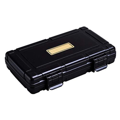 Caja de cigarros, cigarros portátil de Viaje Caja sellada de Cigarrillos a Prueba de Agua del humidificador Maleta Puede 5 2 Colores Opcionales (Color : Black)