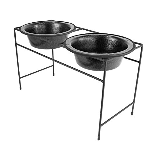 Platinum Pets Modern Double Diner Feeder with Stainless Steel Dog Bowls, Large, Silver Vein