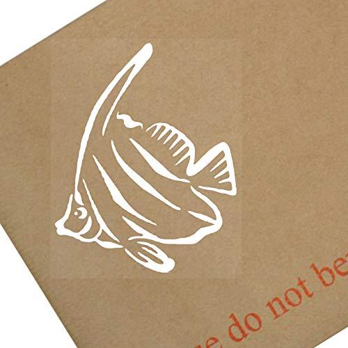 Platina Plaats 1 x Engel Vis-Wit op Clear-Vinyl Sticker-Auto Venster Grafisch Teken Dier, Zoetwater, Aquarium