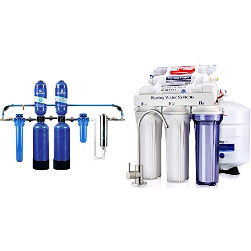 Aquasana Whole House Water Filter System & iSpring RCC7AK 6-Stage Superb Taste High Capacity Under Sink Reverse Osmosis Drinking Water Filter System with Alkaline Remineralization-Natural pH, White