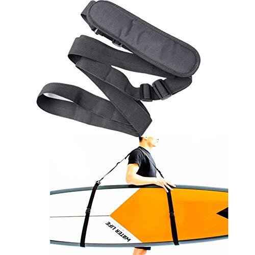 Happymore - Correa de transporte para tabla de surf portátil, correa de hombro ajustable, para kayak, multiusos, color negro