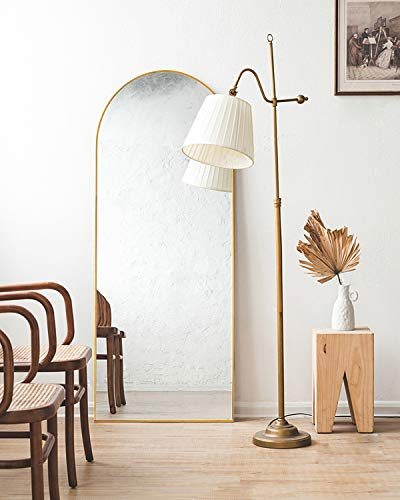 TinyTimes 65''x22'' Arched Full Length Mirror, Floor Mirror with Stand, Full Body Mirror, Arched Wall Mirror, Modern & Contemporary Full Length Mirror - Gold