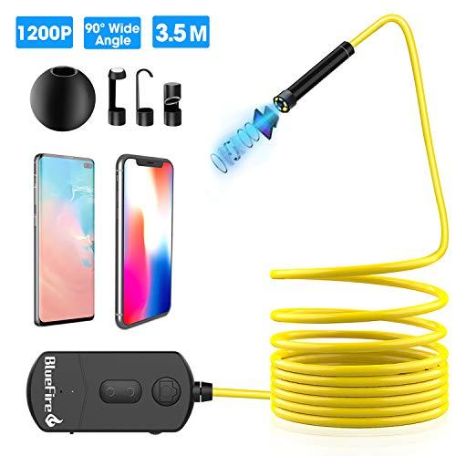 BlueFire Endoskop WiFi, 90°Weitwinkel 2MP 1200P 8.5mm 1800mAh Zoom Semirigid Kamera, Endoskop, Inspection Kamera, Snake Kamera, Endoskop-Kamera für iOS Android Phone Tablet 3.5M