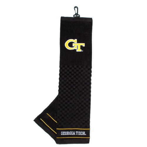 Team Golf NCAA Georgia Tech Yellow Jackets Embroidered Golf Towel, Checkered Scrubber Design, Embroidered Logo