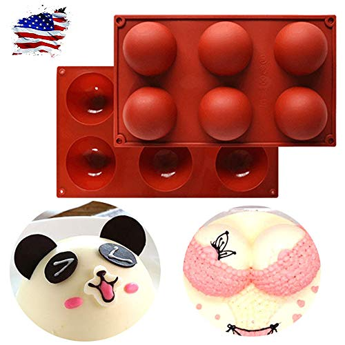 6 Holes Silicone Mold For Chocolate,2Pcs 6 Half 2.75 inch Non Stick Rebound Large Circle Holes Thick Semi Silicone Mold for Cake, Jelly, Pudding, Handmade Soap (red)