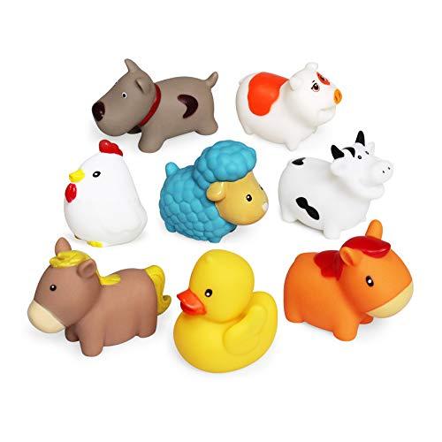 Schwimmendes Badespielzeug Farm Set(8 PCS),Weiche Hunde Enten Schaf Henne Schwein Badespielzeug,Badezimmer Spielzeug sich hin und herbewegende Bauernhof-Baden Spaß Zeit Großes Geschenk für Baby