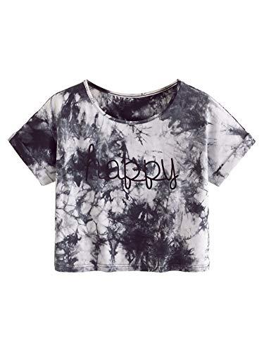 SweatyRocks Womens Tie Dye Letter Print Crop Top T Shirt,Multicolor 9,Medium =S