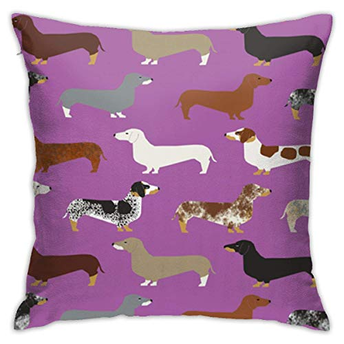 Hdadwy Pillowcase Dachshunds Purple Dogs 18'x18' Standard Pillowcase Cushion Cover Machine Washable