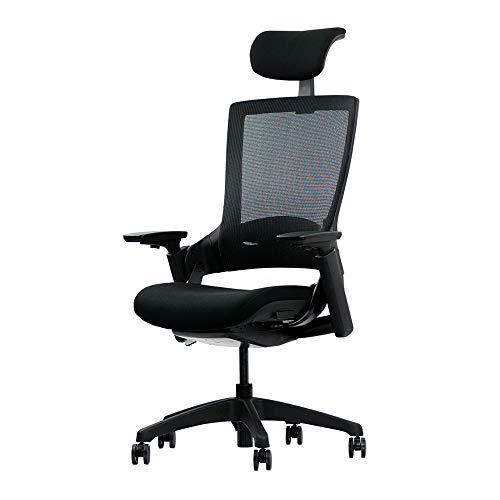Ergotopia® NextBack | Ergonomischer Bürostuhl gegen Rückenschmerzen | Mit integrierter Lordosenstütze | Zusätzliche Kopfstütze gegen Nackenschmerzen (Schwarz)