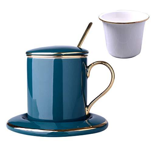 Tasse Unisex Becher Hotel Porzellantasse Filtertasse Haushaltscafé Gedeckter Löffel Teetasse Erwachsene Kaffeetasse und Untertasse Anzug grün 350ml