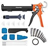 Caulking Tool Kit Silicone Caulking Gun Drip-Free Smooth Rod 10oz Cradle Hand Caulking Gun with Multifunction...