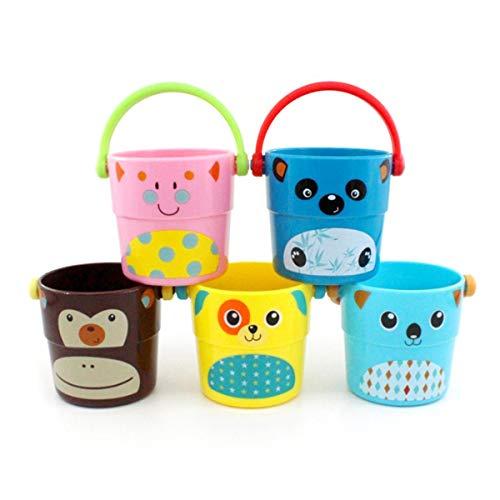 TOYMYTOY Juego de 5 cubos de arena para baño, juguetes pequeños, para niños