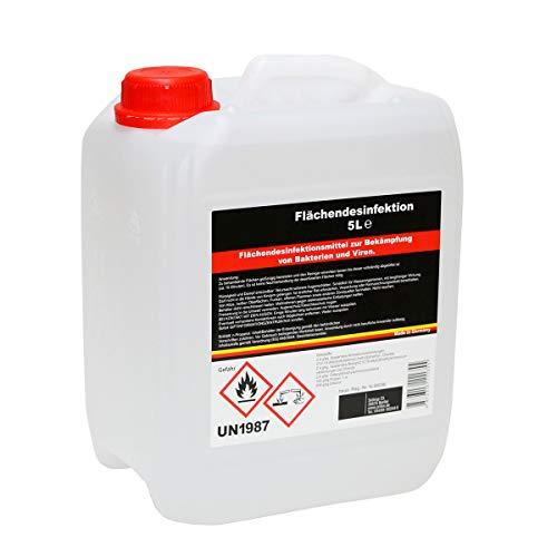 Desinfektionsmittel 5 L | gegen Keime, Bakterien und Pilze | MADE IN GERMANY | Desinfektions-Reiniger Sauna Bad Solarium Fitnessstudio | hochwertig Ethanol Chloride n-Propanol |