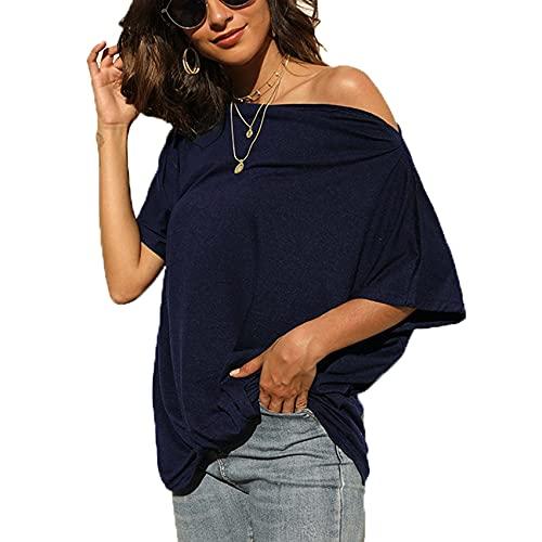 Camiseta sin Tirantes de Color sólido de Primavera y Verano Blusa Suelta de Manga Corta para Mujer