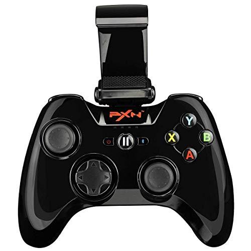 PXN-6603 IOS Zertifizierte Wireless Bluetooth Gamepad Speedy Drahtlos Gaming Spiele Controller Joystick mit Phone Halter für iOS(Schwarz)