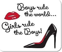 ゲーム用マウスパッドマウスパッドマット10代の女の子男の子が世界を支配赤と黒の光沢のある唇ハイヒール長方形マウスパッド滑り止めゲームデスクコンピューターラップトップゴム滑らかな表面耐久性のある25x30CM