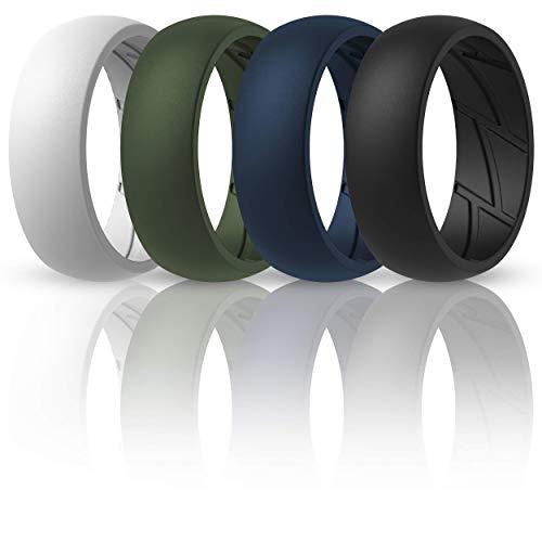 ThunderFit Silicone Wedding Rings for Men - 4 Rings (Dark Blue, Black, Olive, White, 12.5-13 (22.2mm))