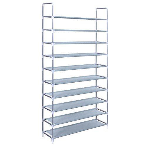 SONGMICS 10 Tiers Shoe Rack 50 Pairs Non-woven Fabric Shoe Tower Storage Organizer Cabinet Grey ULSR10G