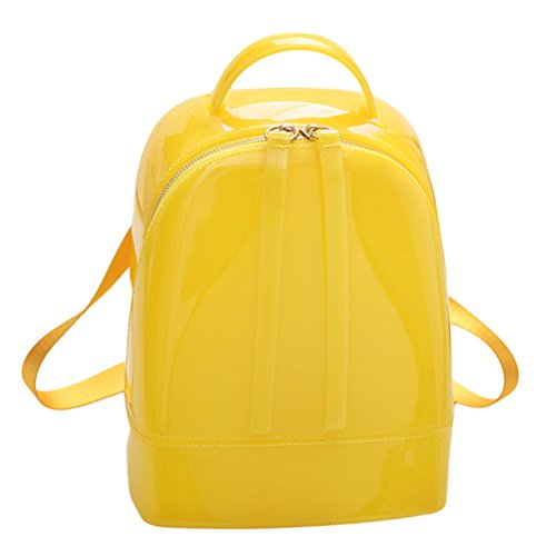 Tinksky Middle Size Jelly Backpack Cute Candy Color Backpack for Teenage Girls Silicone Waterproof Backpack School Women Bag Christmas Gift