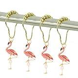 CHICTIE Gold Flamingo Shower Curtain Hooks for Bathroom Decorative Shower Rod Liner Rings Set of 12 Cute Pink Birds Design Rustproof Stainless Steel Metal Roller Ball Hanger