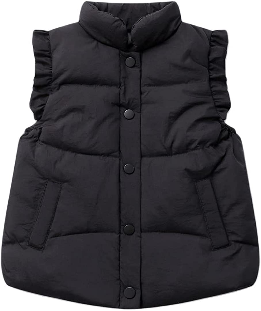 GHURFNP Baby Girls Down Gilets Girls Winter Sleeveless Puffer Vest Jackets Causal Warm Waistcoat Children Outerwear