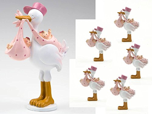 Pack 12 imanes GEMELAS rosas en cigueña amorosa y 1 figura para tarta a juego