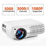 Crenova Video Projector, 6000 Lux Home Movie Projector(550 ANSI), 200'' Display HD LED Projector 1080P Supported, Work with Phone, PC, Mac, TV Stick, PS4, HDMI, USB for Home Theater (Projector)