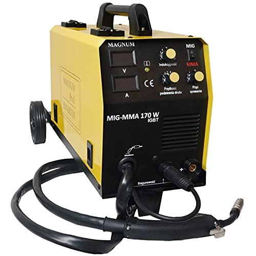 Soldadura inverter MIG 3 en 1 MIG TIG DC IGBT Soldadura MMA Sin gas Soldador 160A 220V IGBT Conjunto Magnum 170 W/para soldar acero y aluminio/con pantalla LED
