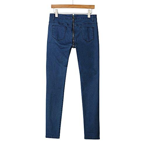 Sannysis Jeans Damen Mit Hinterem Reißverschluss Sexy Straight Jeanshose High Waist Stretch Denim Hosen Bleistift Hose Casual Jeanshosen Skinny Slim Fit SkinnyJeans (M, Blau)