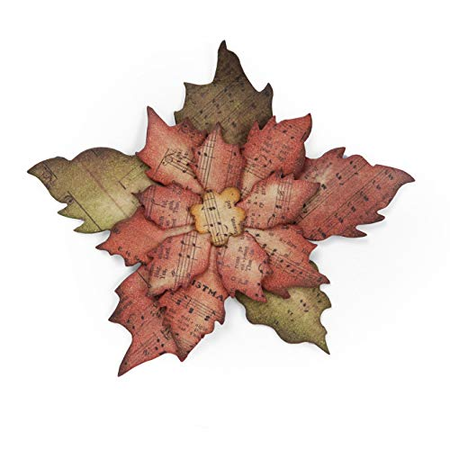 Sizzix Fustella Bigz Poinsettia Strappata, Acciaio Inossidabile, Bianco, Stella Di Natale Stracciata