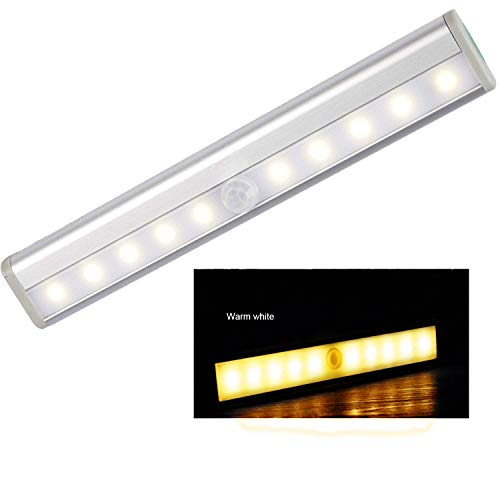 Yesiam 10 LED nachtlampje met bewegingsmelder draadloos op batterijen DIY overal voor trap/lichtbalk voor kast, warmwit