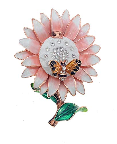 Kubla Crafts Pink Daisy With Bee Trinket Box, Accented with Austrian Crystals