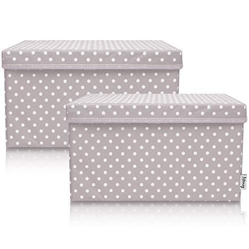 Lifeney 2-Set Aufbewahrungsbox Kinder (37x25x21cm) I Aufbewahrungskorb für Kinderzimmer und Wohnbereich I Kinder Aufbewahrungskiste (Hellgrau Punkte)