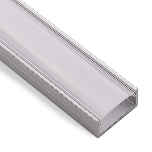 LED Aufbau-Profil-PH1 (2000 x 18 x 8,5 mm) für breite LED Stripes bis 16 mm (z.B. für Philips Hue LightStrip) Aufbauprofil mit opaler Abdeckung von SO-TECH®