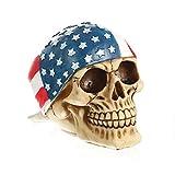 VOANZO Skeleton Skull Figur, amerikanische Flagge Hood USA Bandanna Human Skull Decor Skeleton Head Skulptur Statue Realistische Dekorationen Piratenmodelle Harz Wacky Requisiten Ornament