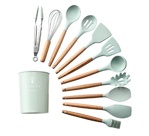 Lawei 11 Stück Küchenhelfer Set Silikon Küchenutenilien Antihaft Hitzebeständig Spaltel Schneebesen mit Holzgriff und Aufbewahrungsbehälter - Grün