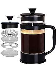 Fransk kaffepress, svart – 1000 ml/1 liter (3,4 dl) espress och tekanna med trippelfilter, kolv i rostfritt stål och värmebeständigt glas – av KICHLY